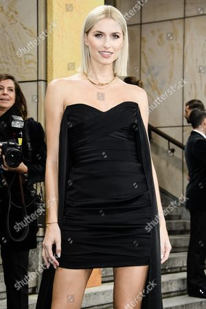 German model Lena Gercke arrives for the GQ Men of the Year 2019 awards show in Berlin, Germany, 07 November 2019. The international monthly men's magazine GQ presents the award to personalities from the show and music businesses as well as society, sport, politics, culture and fashion.