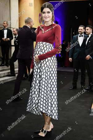 Stock Picture of German pregnant model Marie Nasemann arrives for the GQ Men of the Year 2019 awards show in Berlin, Germany, 07 November 2019. The international monthly men's magazine GQ presents the award to personalities from the show and music businesses as well as society, sport, politics, culture and fashion.