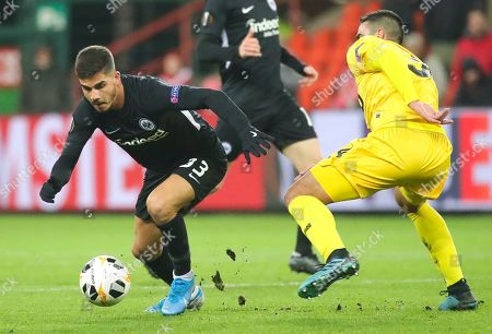 Frankfurt's Andre Silva (L) in action against Standard de Liege Konstantinos Laifis (R) during the UEFA Europa League group F match between Standard de Liege and Eintracht Frankfurt, in Liege, Belgium, 07 November 2019.