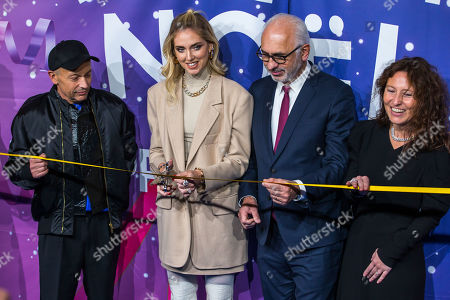 Italian fashion blogger Chiara Ferragni (C-L) and Printemps store CEO Paolo De Cesare (C-R) pose during the annual launch of the Printemps department store Christmas windows display in Paris, France, 07 November 2019.
