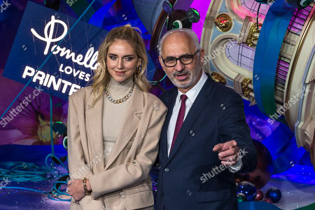 Italian fashion blogger Chiara Ferragni (L) and Printemps store CEO Paolo De Cesare (R) pose during the annual launch of the Printemps department store Christmas windows display in Paris, France, 07 November 2019.