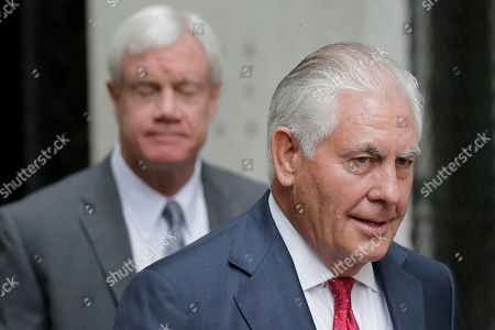 Stock Picture of Former Exxon CEO and ex-Secretary of State Rex Tillerson leaves a courthouse in New York. Attorneys for New York state say climate change may be the defining risk for oil and gas companies and that Exxon Mobil misled investors about how it was handling those risks. Lawyers made closing arguments Thursday, Nov. 7