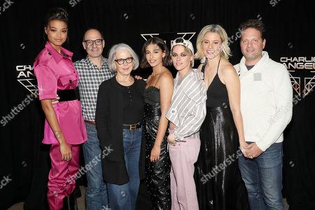 Ella Balinska, Doug Belgrad (Producer), Elizabeth Cantillon (Producer), Naomi Scott, Kristen Stewart, Elizabeth Banks (Director) and Max Handelman (Produver)
