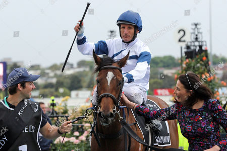 Stock Image of , Melbourne, Miami Bound with Damien Oliver up and Nina O'Brien, wife of trainer Danny O'Brien, after winning the Kennedy Oaks at Flemington racecourse, AUS.