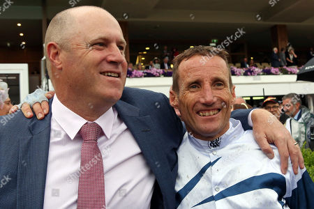 , Melbourne, Portrait of jockey Damien Oliver and trainer Danny O'Brien after winning the Kennedy Oaks with Miami Bound at Flemington racecourse, AUS.