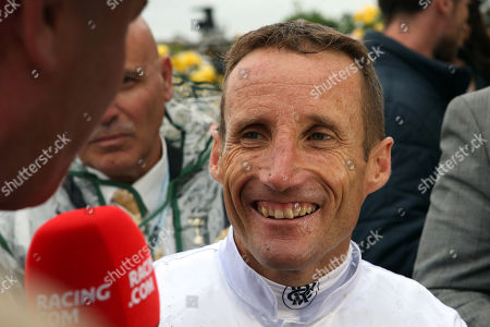 , Melbourne, Portrait of jockey Damien Oliver after winning the Kennedy Oaks with Miami Bound at Flemington racecourse, AUS.
