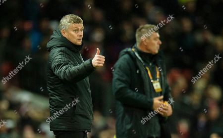 Manchester United manager Ole Gunnar Solskjaer reacts during the UEFA Europa League group L soccer match between Manchester United and FK Partizan held at Old Trafford in Manchester, Britain, 07 November 2019.