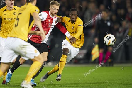 Nicolai Jorgensen of Feyenoord Rotterdam in action against Jordan Lotomba of BSC Young Boys (R) during the UEFA Europa League group G soccer match between Feyenoord Rotterdam and BSC Young Boys in Rotterdam, The Netherlands, 07 November 2019.