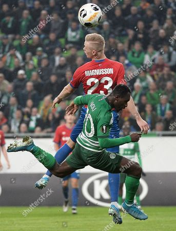 Franck Boli of Ferencvaros (F) in action against Hordur Magnusson of Moscow during the UEFA Europa League group stage soccer match between Ferencvaros and CSKA, in Budapest, Hungary, 07 November 2019.