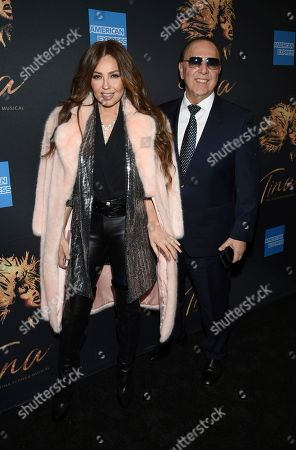 """Thalia, Tommy Mottola. Thalia, left, and Tommy Mottola attend """"Tina ñ The Tina Turner Musical"""" Broadway opening night at the Lunt-Fontanne Theatre, in New York"""