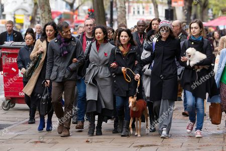 Television presenter and journalist, Samira Ahmed arrives at the Central London Employment Tribunal to attend an equal pay case hearing against the BBC with her brother Salim Ahmed and Lisa Mayor (far right wearing sunglasses)