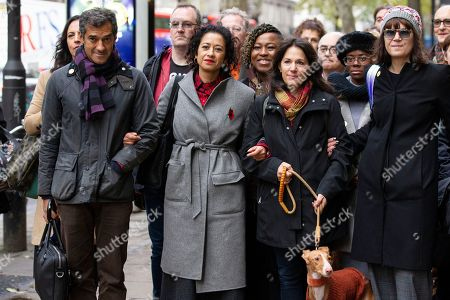Stock Photo of Television presenter and journalist, Samira Ahmed arrives at the Central London Employment Tribunal to attend an equal pay case hearing against the BBC with her brother Salim Ahmed and Lisa Mayor (far right wearing sunglasses)