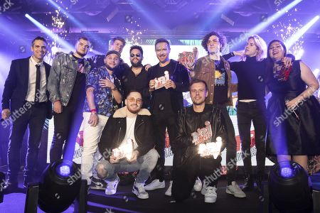 Stock Image of David of NRJ, Gaullin, Jax Jones, Tujamo, Prince Karma, AAZAR, David Guetta, Armin van Buuren, Ofenbach and Karen of NRJ
