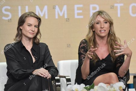 """Laura Solon, Daisy Haggard. Laura Solon, left, and Daisy Haggard participating in the Showtime """"Back To Life"""" panel during the Summer 2019 Television Critics Association Press Tour in Beverly Hills, Calif. The series premieres on Nov. 10"""
