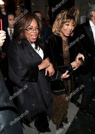 """Oprah Winfrey, Tina Turner, Erwin Bach. Singer Tina Turner, center, arrives with Oprah Winfrey, left, and husband Erwin Bach for the opening night of """"Tina - The Tina Turner Musical"""" at the Lunt-Fontanne Theatre, in New York"""