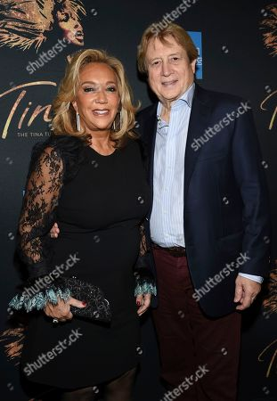 """Denise Rich, Peter Cervinka. Denise Rich and Peter Cervinka attend """"Tina - The Tina Turner Musical"""" Broadway opening night at the Lunt-Fontanne Theatre, in New York"""