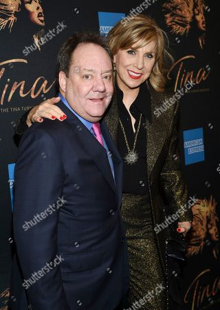 """Stock Photo of James L. Nederlander, Margo Nederlander. James L. Nederlander, left, and wife Margo Nederlander attend """"Tina - The Tina Turner Musical"""" Broadway opening night at the Lunt-Fontanne Theatre, in New York"""