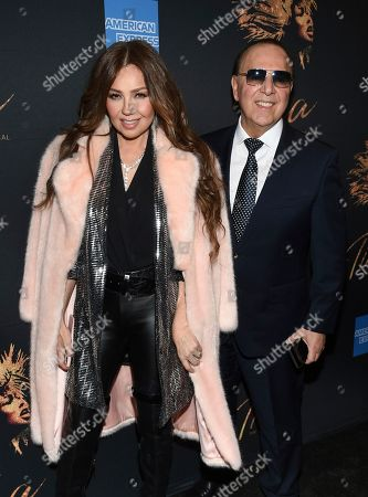 """Thalia, Tommy Mottola. Thalia and Tommy Mottola attend """"Tina - The Tina Turner Musical"""" Broadway opening night at the Lunt-Fontanne Theatre, in New York"""