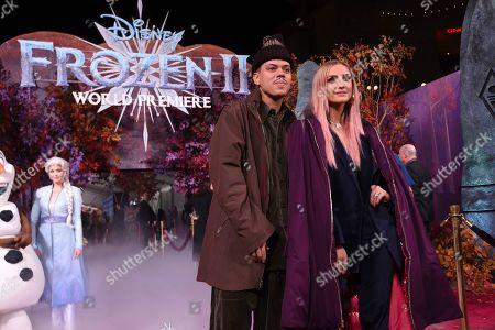 "Evan Ross, Ashlee Simpson. Evan Ross, left, and Ashlee Simpson arrive at the world premiere of ""Frozen 2"" at the Dolby Theatre, in Los Angeles"
