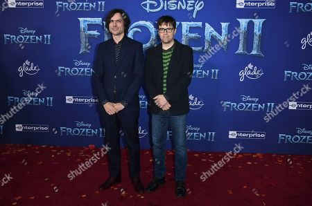 "Brian Bell, Rivers Cuomo. Brian Bell, left, and Rivers Cuomo, of Weezer, arrive at the world premiere of ""Frozen 2"" at the Dolby Theatre, in Los Angeles"