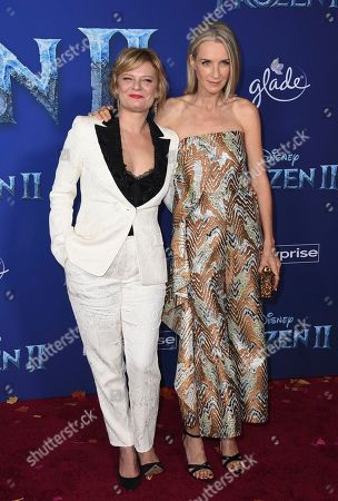 """Martha Plimpton, Ever Carradine. Martha Plimpton, left, and Ever Carradine arrive at the world premiere of """"Frozen 2"""" at the Dolby Theatre, in Los Angeles"""