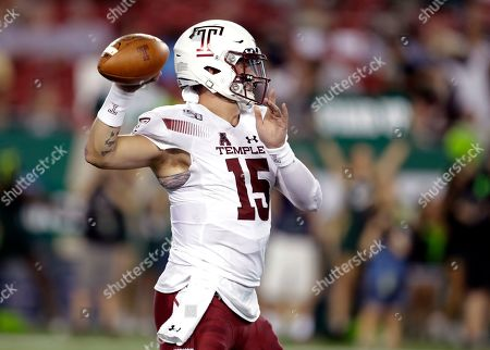 Temple quarterback Anthony Russo throws a pass against South Florida during the first half of an NCAA college football game, in Tampa, Fla