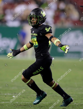 South Florida defensive back Bentlee Sanders celebrates after intercepting a pass by Temple quarterback Anthony Russo during the second half of an NCAA college football game, in Tampa, Fla