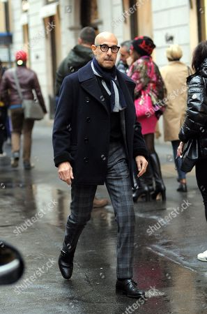 Stanley Tucci makes a documentary film for CNN in the centre of Milan.