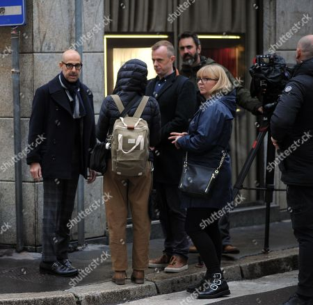 Stock Image of Stanley Tucci makes a documentary film for CNN in the centre of Milan.