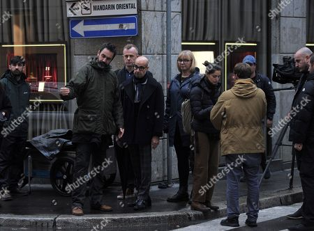 Stock Photo of Stanley Tucci makes a documentary film for CNN in the centre of Milan.