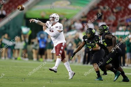 Temple quarterback Anthony Russo (15) throws a pass against South Florida during the first half of an NCAA college football game, in Tampa, Fla