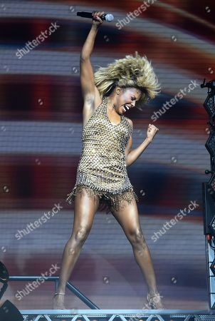 "Adrienne Warren performs during the opening night of ""Tina ñ The Tina Turner Musical"" at the Lunt-Fontanne Theatre, in New York"