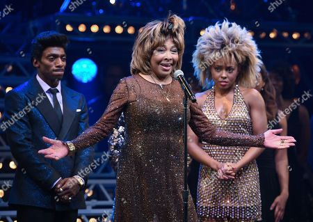 "Daniel J. Watts, Tina Turner, Adrienne Warren. Singer Tina Turner, center, speaks on stage with actors Daniel J. Watts, left, and Adrienne Warren on the opening night of ""Tina ñ The Tina Turner Musical"" at the Lunt-Fontanne Theatre, in New York"