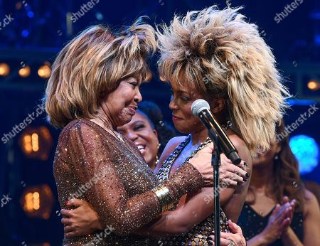 "Tina Turner, Adrienne Warren. Singer Tina Turner, left, speaks on stage with actress Adrienne Warren on the opening night of ""Tina ñ The Tina Turner Musical"" at the Lunt-Fontanne Theatre, in New York"
