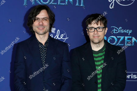 Brian Bell (L) and Rivers Cuomo (R) of Weezer pose on the red carpet prior to the world premiere of the movie 'Frozen II' at the Dolby Theatre in Hollywood, Los Angeles, California, USA, 07 November 2019. The movie is to be released in US theaters on 22 November 2019.