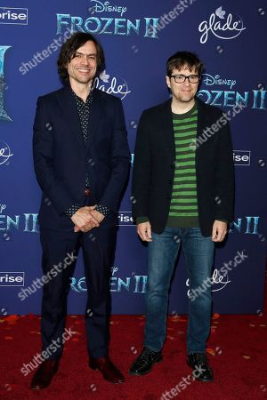 Stock Image of Brian Bell (L) and Rivers Cuomo (R) of Weezer pose on the red carpet prior to the world premiere of the movie 'Frozen II' at the Dolby Theatre in Hollywood, Los Angeles, California, USA, 07 November 2019. The movie is to be released in US theaters on 22 November 2019.