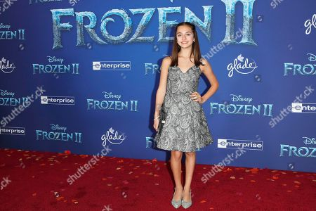 Mattea Conforti poses on the red carpet prior to the world premiere of the movie 'Frozen II' at the Dolby Theatre in Hollywood, Los Angeles, California, USA, 07 November 2019. The movie is to be released in US theaters on 22 November 2019.