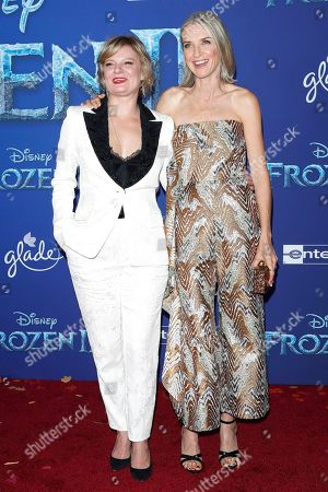 Martha Plimpton (L) and US actress Ever Carradine (R) pose on the red carpet prior to the world premiere of the movie 'Frozen II' at the Dolby Theatre in Hollywood, Los Angeles, California, USA, 07 November 2019. The movie is to be released in US theaters on 22 November 2019.