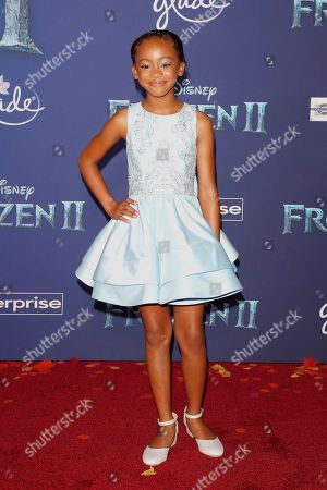 Faithe Herman poses on the red carpet prior to the world premiere of the movie 'Frozen II' at the Dolby Theatre in Hollywood, Los Angeles, California, USA, 07 November 2019. The movie is to be released in US theaters on 22 November 2019.
