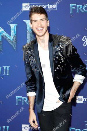 Joey Graceffa poses on the red carpet prior to the world premiere of the movie 'Frozen II' at the Dolby Theatre in Hollywood, Los Angeles, California, USA, 07 November 2019. The movie is to be released in US theaters on 22 November 2019.