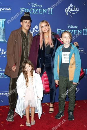 Ashlee Simpson (C-R), her husband Evan Ross (C-L), along with their children pose on the red carpet prior to the world premiere of the movie 'Frozen II' at the Dolby Theatre in Hollywood, Los Angeles, California, USA, 07 November 2019. The movie is to be released in US theaters on 22 November 2019.