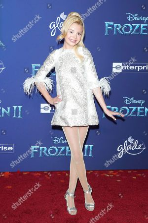Mallory James Mahoney poses on the red carpet prior to the world premiere of the movie 'Frozen II' at the Dolby Theatre in Hollywood, Los Angeles, California, USA, 07 November 2019. The movie is to be released in US theaters on 22 November 2019.
