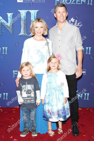 Stock Photo of L-R: US actress Beverley Mitchell, husband Michael Cameron, their children Hutton Michael Cameron and Kenzie Cameron poses on the red carpet prior to the world premiere of the movie 'Frozen II' at the Dolby Theatre in Hollywood, Los Angeles, California, USA, 07 November 2019. The movie is to be released in US theaters on 22 November 2019.