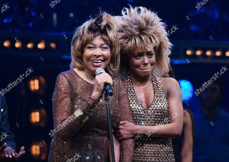 "Stock Photo of Tina Turner, Adrienne Warren. Singer Tina Turner, left, speaks on stage with actress Adrienne Warren on the opening night of ""Tina ñ The Tina Turner Musical"" at the Lunt-Fontanne Theatre, in New York"