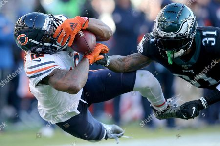 Stock Photo of Allen Robinson II, Jalen Mills. Chicago Bears wide receiver Allen Robinson II (12) in action against Philadelphia Eagles cornerback Jalen Mills (31) during an NFL football game, in Philadelphia