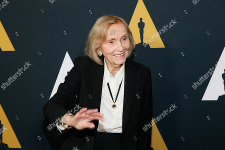 Eva Marie Saint poses at the Academy Nicholl Fellowships in Screenwriting Awards and Live Read at the Academy of Motion Picture Arts and Sciences Samuel Goldwyn Theater on in Beverly Hills, Calif