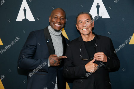 Tyrese Gibson, Wes Studi. Actors Tyrese Gibson, left, and Wes Studi pose at the Academy Nicholl Fellowships in Screenwriting Awards and Live Read at the Academy of Motion Picture Arts and Sciences Samuel Goldwyn Theater on in Beverly Hills, Calif