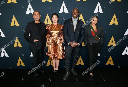 Wes Studi, Rosa Salazar, Tyrese Gibson, Amandla Stenberg. Actors, from left to right, Wes Studi, Rosa Salazar, Tyrese Gibson and Amandla Stenberg pose at the Academy Nicholl Fellowships in Screenwriting Awards and Live Read at the Academy of Motion Picture Arts and Sciences Samuel Goldwyn Theater on in Beverly Hills, Calif