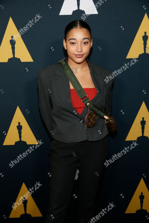 Amandla Stenberg poses at the Academy Nicholl Fellowships in Screenwriting Awards and Live Read at the Academy of Motion Picture Arts and Sciences Samuel Goldwyn Theater on in Beverly Hills, Calif