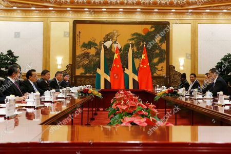 Jamaican Prime Minister Andrew Holness and Chinese Premier Li Keqiang attend a meeting at the Great Hall of the People in Beijing, China, 08 November 2019.